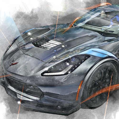 dessin au crayon d'une automobile sportive